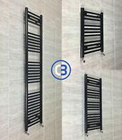 450mm Wide Black Designer Heated Towel Rail Radiator Rad Rack Warmer Straight