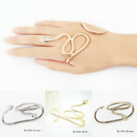 New Punk Snake Crystal Hand Palm Bracelet Bangle Cuff Ring Jewelry UK Gifts