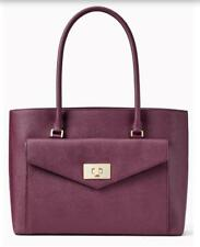KATE SPADE Post Street Halsey Shoulder Bag Leather Deep Plum Purse MSRP $558 NWT
