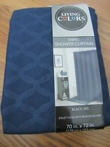 """LIVING COLORS, NEW NAVY BLUE POLYESTER FABRIC SHOWER CURTAIN 70"""" X 72"""""""