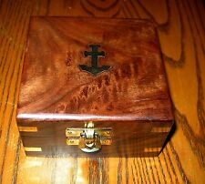 Teak like Exotic Wood and Brass Anchor Presentation Case/Nautical Box!