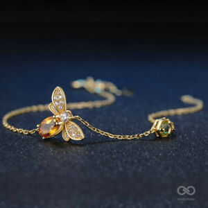 Bee 100% Natural Oval Citrine 925 Sterling Silver Gold Plated Chain Bracelet