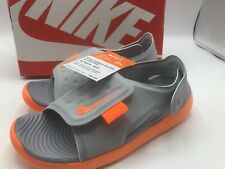 Nike Sunray Adjust Size 2Y Youth Orange Gray Sandal - New in Box