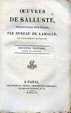 OEUVRES de SALLUSTE, traduction Dureau de Lamalle - 1811,bilingue Latin Français