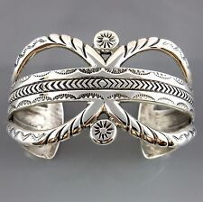 Solid Sterling Silver Handcrafted Modern Cuff Bracelet Signed