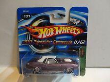 2005 Hot Wheels Treasure Hunt #131 Purple '70 Barracuda w/Real Riders Short Card