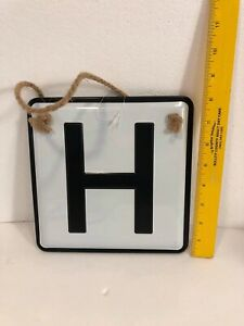 """8"""" Decorative White Metal Square With Black Letter H New. Farmhouse Decor CUTE!!"""