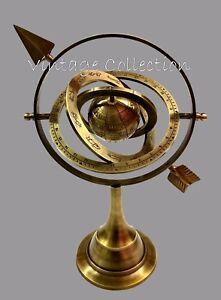 2 Pcs Antique Brass Armillary Sphere Globe with Arrow Vintage Nautical Decor
