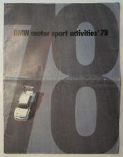 BMW MOTORSPORT ACTIVITIES orig 1978 UK Mkt Publicity Promotional Brochure