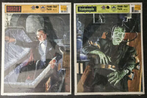 Dracula & Frankenstein Golden Tray Puzzles Universal Monsters 1991 Still-sealed!