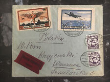 1921 Danzig Airmail Express Cover to Warsaw poland Poznan Airshow Stamps