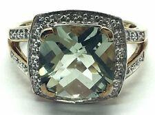 Sterling Silver Gold Tone Cushion Prasiolite Diamond Halo Split Cocktail Ring