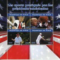 Chad Donald Trump Stamps 2020 MNH Basketball Golf Tennis Sports 4v M/S