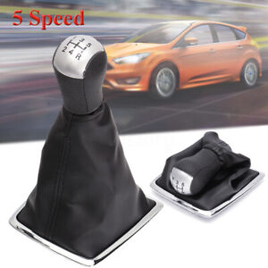 5 Speed Gear Stick Shift Knob Gaiter Cover Leather Boot For Ford Focus MK2 II UK
