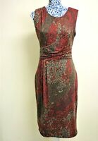 Phase Eight Vintage Red Brown Ruched Side Stretch Work Wiggle Pencil Dress UK 10