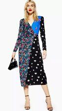 TOPSHOP New Colour Block Multi Floral Print Midi Wrap Dress Sizes 6 to 16