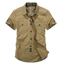 Men Short Sleeve Shirts Army Work Cargo Shirt Military Casual Cotton Shirt Tops