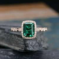 2.50Ct Emerald Cut Green Diamond Halo Engagement Ring Solid 14K Rose Gold Finish