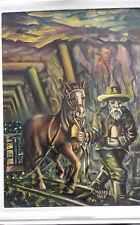Orginal Ölgemälde signiert  A.Mendel 1987, Grubenpferd Förderwagen naive Kunst