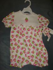 New Okie Dokie Baby Girl 12 mos. Bubble Romper Strawberries with Headband