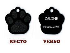 medaille gravee chien ou chat - modele petite patte de chat calinette - noire