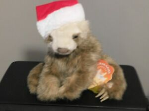 Folkmanis  - Baby Sloth Puppet - with removable Christmas hat