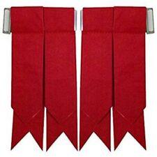 Scottish Highland Kilt Hose Socks Flashes Solid Red/Plain Red Kilt Hose Flashes