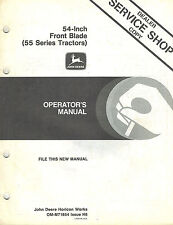 "John Deere 54-Inch Front Blade Operator'S Manual for 55 Series Tractors jd New"""