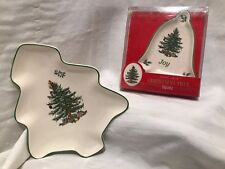 2~Spode~Christmas Tree Pattern~Tree & Bell Shaped~Nut Candy Trinket Dishes