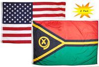 "Wholesale Lot of 6 Vanuatu 4/""x6/"" Desk Table Stick Flag"