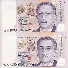 SINGAPORE $2 x 2 Portrait Series, Unc Polymer Notes! 2 Different signatures!!