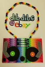 Turntable kandi perler necklace rave EDC PLUR DJ 3D hama art sound synthesizer