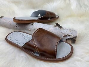 Men Slippers Natural Leather Flat Open Toe Slides