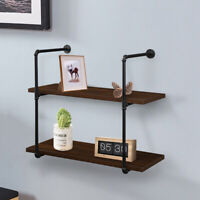 2 Tier Floating Shelves Wall Rustic Wood for Bathroom Bedroom Living Room Office