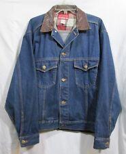 Marlboro Country Store Mens M 100% Cotton Blue Denim Jacket w/Leather Collar