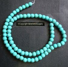 Treated Blue green chalk turquoise 6mm round shaped beads 16 inch  BS084