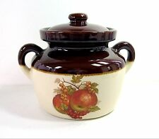 """Vintage McCOY 341 BEAN POT W/ LID Handles Fruit APPLES Design Crock Soup 5 7/8"""""""