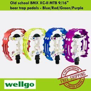 """Wellgo Old school BMX XC-II MTB 9/16"""" bear trap pedals - Blue/Red/Green/Purple"""