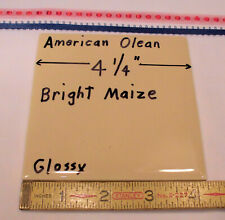 """1 pc. *Maize* Glossy Ceramic Tile #24 by American Olean 4-1/4"""" ; a yellow-brown"""