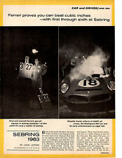 1963 12-HOURS OF SEBRING / FERARRI 3.0 ~  NICE ORIGINAL 8-PAGE ARTICLE