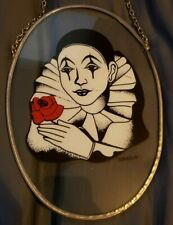 Pierrot Glass Hanging Painted Clown Collectable Stained Glass