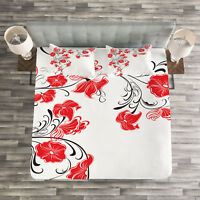 Asian Quilted Bedspread & Pillow Shams Set, Japanese Flowers Ivy Print