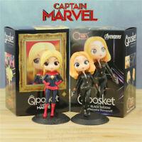 Marvel Captain Marvel Black Widow Action Figure Q posket Set Princess Dolls Toys