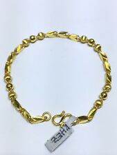 "24k Solid Yellow Gold Flexible Diamond Cut Chain Link Ball Bracelet 7"" 7.60g"