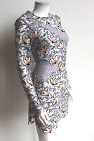 SELF-PORTRAIT 3D Floral Mini Dress Dove Grey UK 8