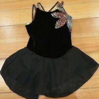GK Elite Sportwear Black Sleeveless Glitter Ice Figure Skating Dress Womens Sz M