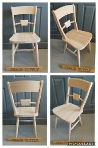 Solid Raw Wood Brand New Bar Back Farmhouse Kitchen Dining Chair
