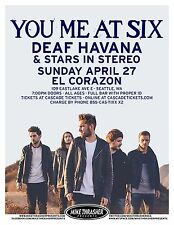 YOU ME AT SIX 2014 Gig POSTER Concert Seattle Washington
