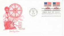 1975 Coil Pair Flag Over Independence Hall Art Craft Cachet Unaddredded Fdc