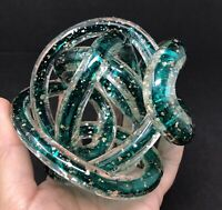 Twisted Rope Endless Knot Hand Blown Green Art Glass w/ Mica Gold Flecks